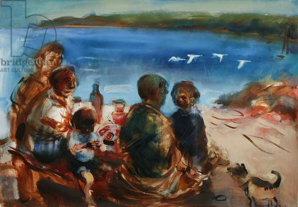 Picnic with 4 Swans, 2006 (oil on paper)