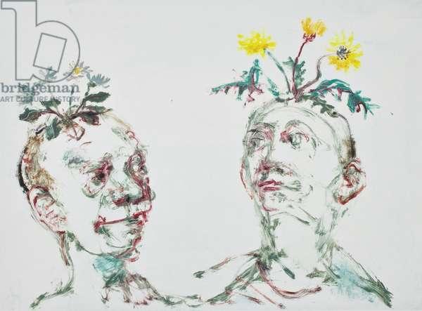 Weed heads, 2012, (mono print)