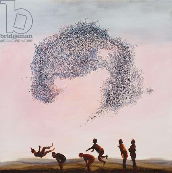 Leapfrog and Starlings, 2012 (oil on linen)