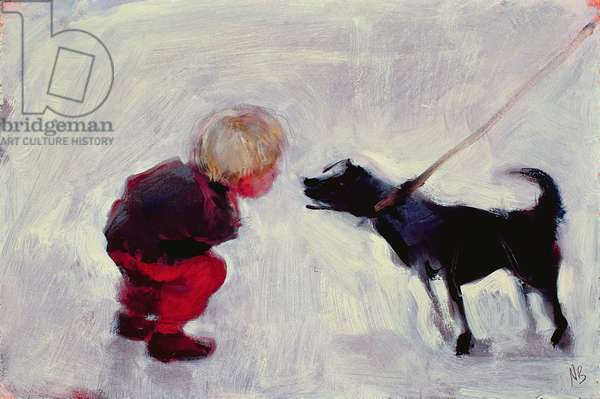 Lucas Talking to a Dog, 2006 (oil on board)