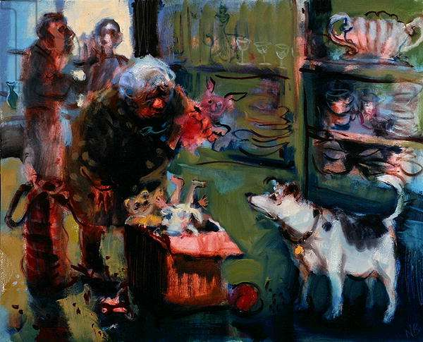 Dog Choosing a Toy in a Charity Shop, 2006 (oil on board)