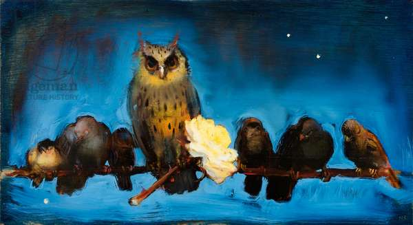 Owl with Stolen Rose, 2009 (oil on wood)