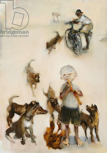 Boy with Flute and Dogs, 2007 (oil on board)