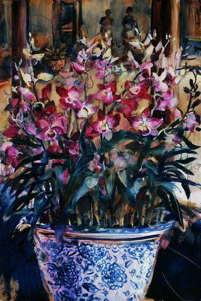 Orchids in a Blue and White Pot, 2006 (oil on canvas)