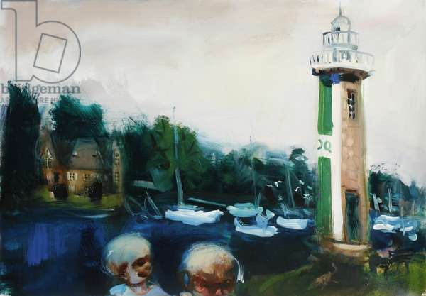 A Lighthouse in Brittany, 2006 (oil on paper)