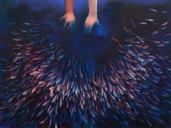 Scattering Shoal (Two Hands), (oil on linen)