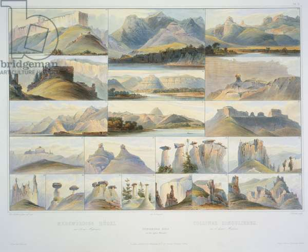 Remarkable Hills on the Upper Missouri, engraved by F. Salathe, publishes in 1839 (aquatint)