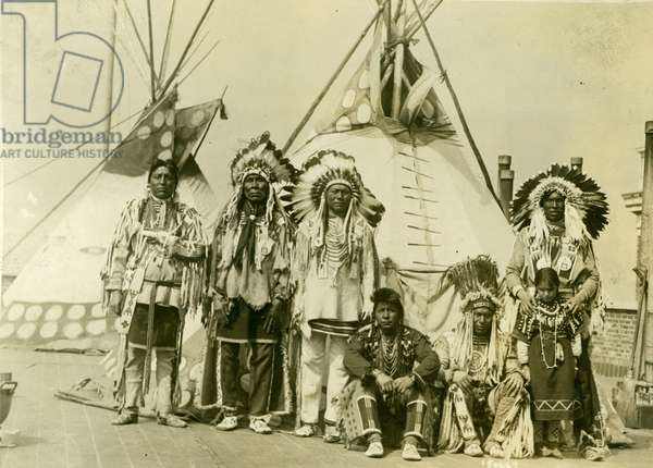 Blackfoot indians on the roof of the McAlpin Hotel, refusing to sleep in their rooms, New York City (b/w photo)