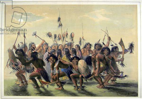 Native Americans performing a tribal group dance (colour litho)