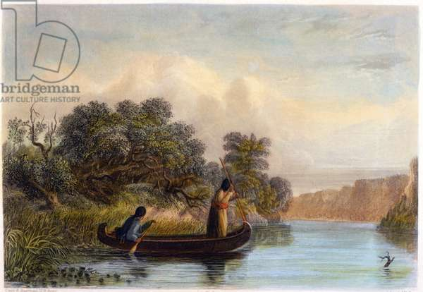 Spearing Fish from a Canoe, 1853 (colour litho)