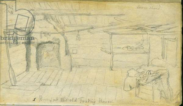 Room at the old Trading House, 1851 (pencil on paper)