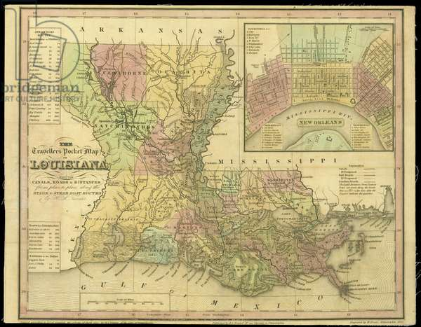 The Travellers Pocket Map of Louisiana, published in 1830 (coloured engraving)