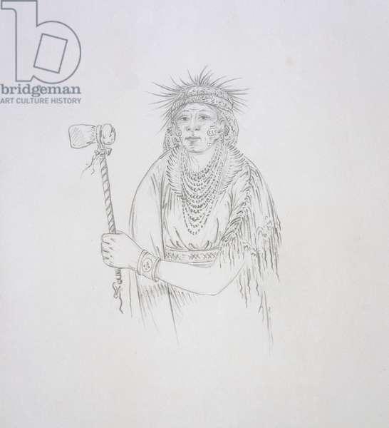 Men-son-se-a (The Lefthand) 1852 (pencil on paper)