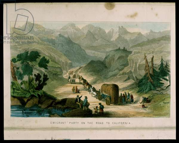 Emigrant Party on the Road to California, illustration from 'California, its past history, its present position, its future prospects' by G.A. Fleming, 1850 (colour litho)