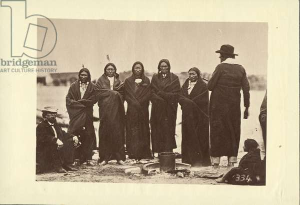 Tashunkakokip (Old man afraid of his horses) and his chiefs, Oglala, 1868 (albumen print)