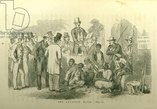 'The Auction Sale', illustration from, 'Uncle Tom's Cabin; or, Life Among the Lowly, vol. I', by Harriet Beecher Stowe (1811-96), 1852 (litho)