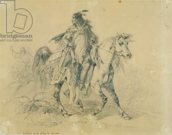 Blackfeet warrior on horseback, c.1833-43 (pencil, pen & w/c on paper)