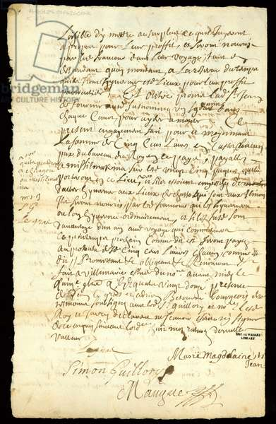 Fur trade contract between Francois Francoeur and four voyageurs for transport of goods and purchase of beaverpelts in Michilimackinac and Chicago, 1692 (pen & ink on paper) (see also 332318)