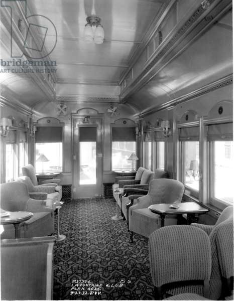 Lounge car, Midwest MS Pullman, 4025 Fontain Club, 1932 (b/w photo)
