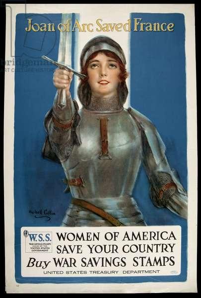 Joan of Arc saved France, c.1918 (colour litho)