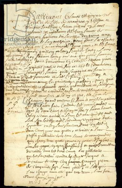 Fur trade contract between Francois Francoeur and four voyageurs for transport of goods and purchase of beaverpelts in Michilimackinac and Chicago, 1692 (pen & ink on paper) (see also 332317)