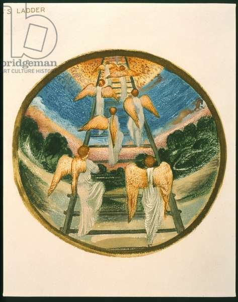 Jacob's Ladder, Angels Returning tp Heaven,  plate 111 from 'The Flower Book' (colour litho)