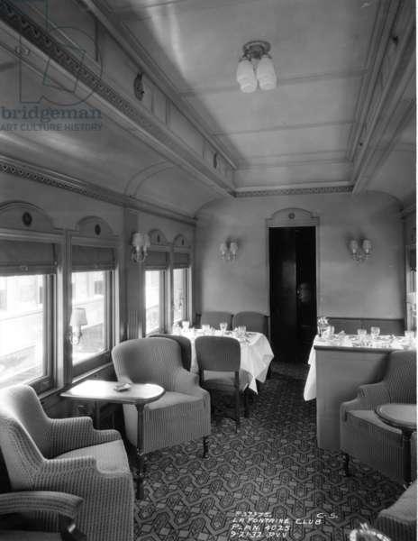 Lounge car, Midwest MS Pullman, 4025 Fontain Club, 1932 (b/w photo)
