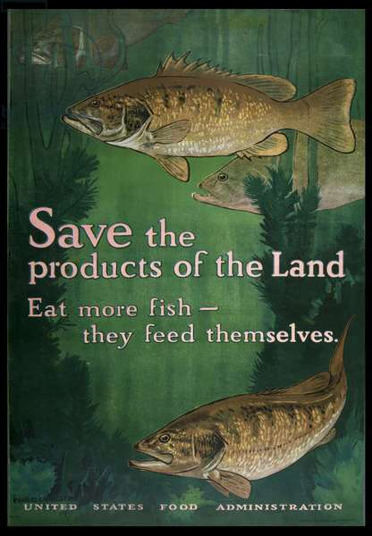 Save the Products of the Land, Eat More Fish, 1914-18 (colour litho)