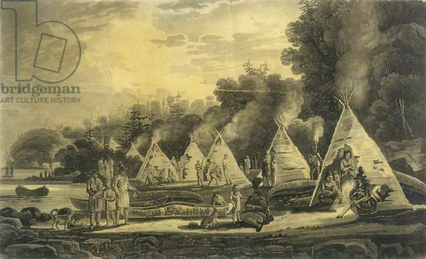 Encampment of the Domiciliated Indians, 1807 (litho)