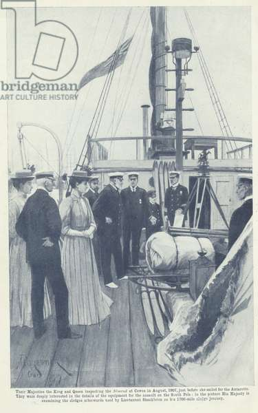 Their Majesties the King and Queen inspecting the Nimrod at Cowes in August 1907, just before she sailed for the Antarctic (litho)