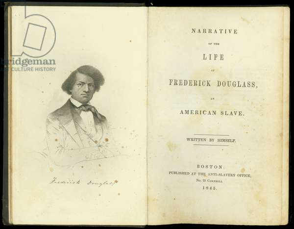 Frontispiece and title page from, 'Narrative of the life of Frederick Douglass, an American slave, written by himself', published by The Anti-Slavery Office, Boston, 1845 (litho)