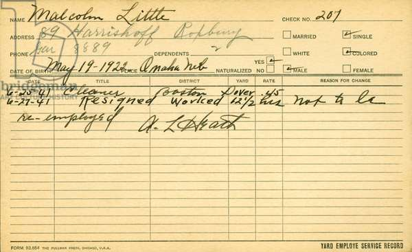 The employee service record of Malcolm X (1925-65)