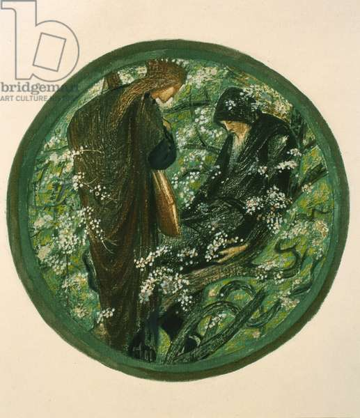 Nimue Beguiling Merlin with Enchantment, plate XV from 'The Flower Book' (colour litho)