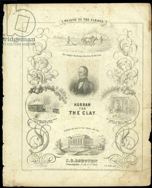 Cover of the score sheet for 'Hurrah for the Clay', engraved by T. Sinclair, 1843 (litho)