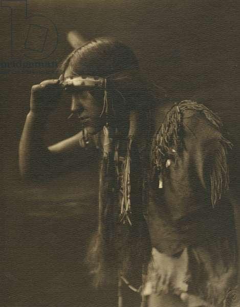 Portrait of a Hupa indian (b/w photo)