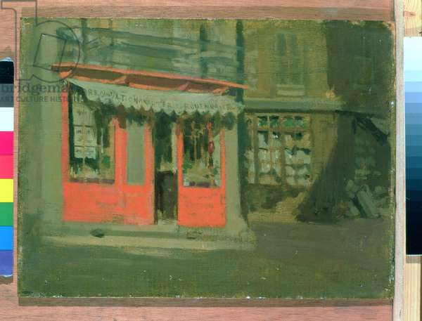 The Red Shop (oil on panel)