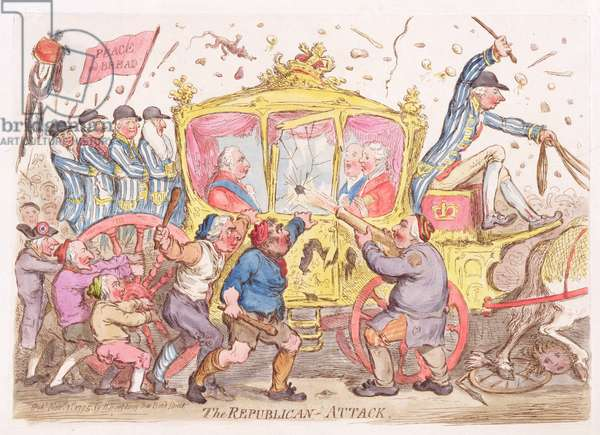 """""""The Republican Attack"""", cartoon of the shot fired at the coach of George III (1738-1820) pub. by Hannah Humphrey, 1795 (etching)"""