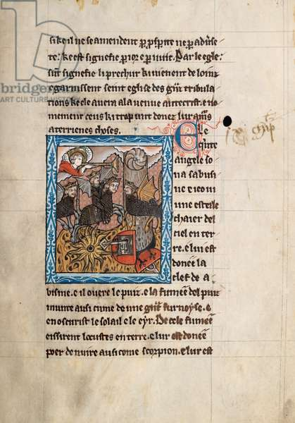 Ms65 f30r, Commentary on the Apocalypse of St John, late 13th century (pen & ink and tempera on vellum)