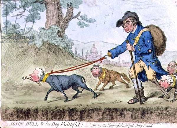 """""""John Bull and his Dog Faithful: 'Among the Faithless, Faithful only Found'"""", pub. by Hannah Humphrey, 1796 (etching)"""