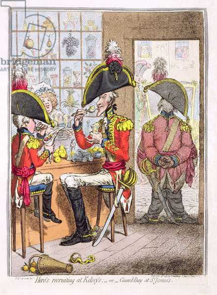 'Hero's Recruiting at Kelsey's, or Guard-Day at St. James's', pub. by Hannah Humphrey, 1797 (coloured etching)