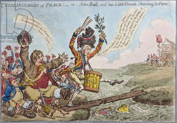 Preliminaries of Peace, or John Bull and his Little Friends Marching to Paris, published by Hannah Humphrey in 1801 (hand-coloured etching)