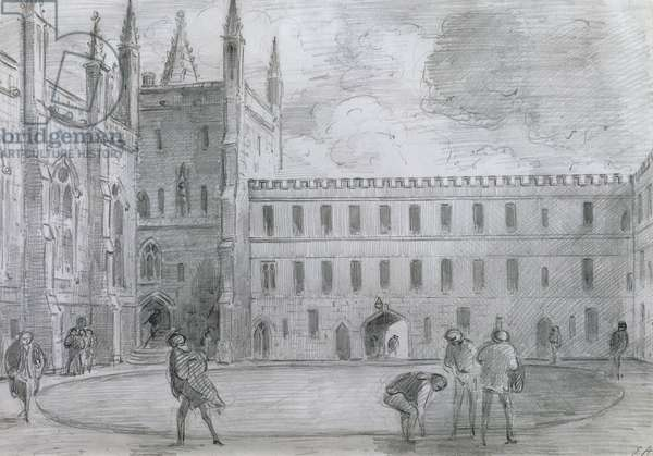 The Front Quadrangle of New College, Oxford (pencil on paper)