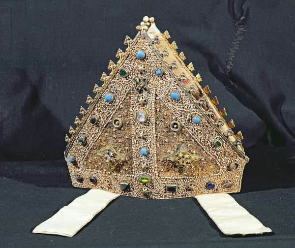 Mitre belonging to William of Wykeham, late 14th or early 15th century (cloth of gold, pearls, silver-gilt & imitation turquoises)