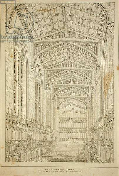 New College Chapel: Interior view showing designs for proposed roof, 1875-77 (ink on paper) (see also 232974)
