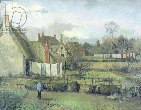 Gardens in Wytham Village, 1951 (oil on canvas)