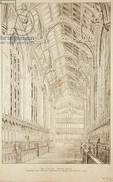 New College Chapel: Interior view showing alternative design for proposed roof, 1875-77 (ink on paper) (see also 232973)