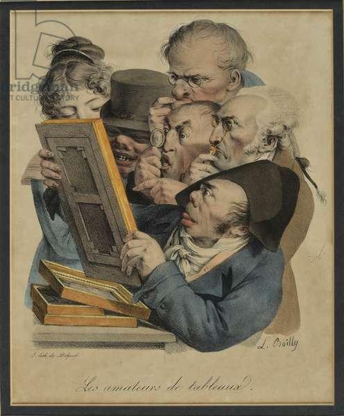 Les Amateurs de Tableux, 1823 (hand-coloured litho)