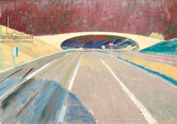 Bridge over a Motorway (oil on canvas)