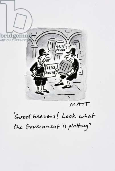'Good heavens! Look what the government is plotting', 2013 (pen & ink with w/c on paper)