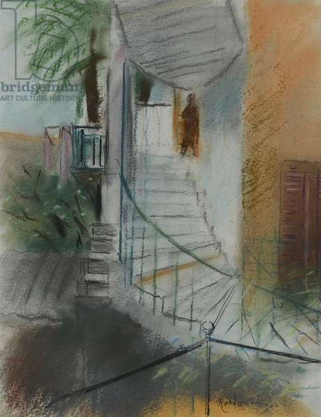 Stairs to the Studio (pastel on paper)